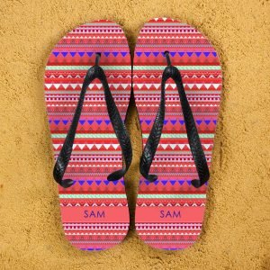 Personalised Adults Flip Flops (Red) – Aztec