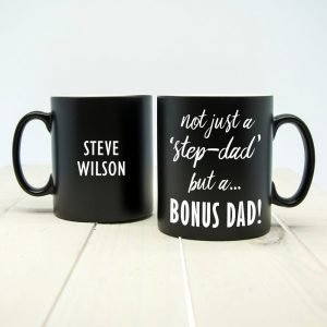 Personalised Bonus Dad Black Matte Mug