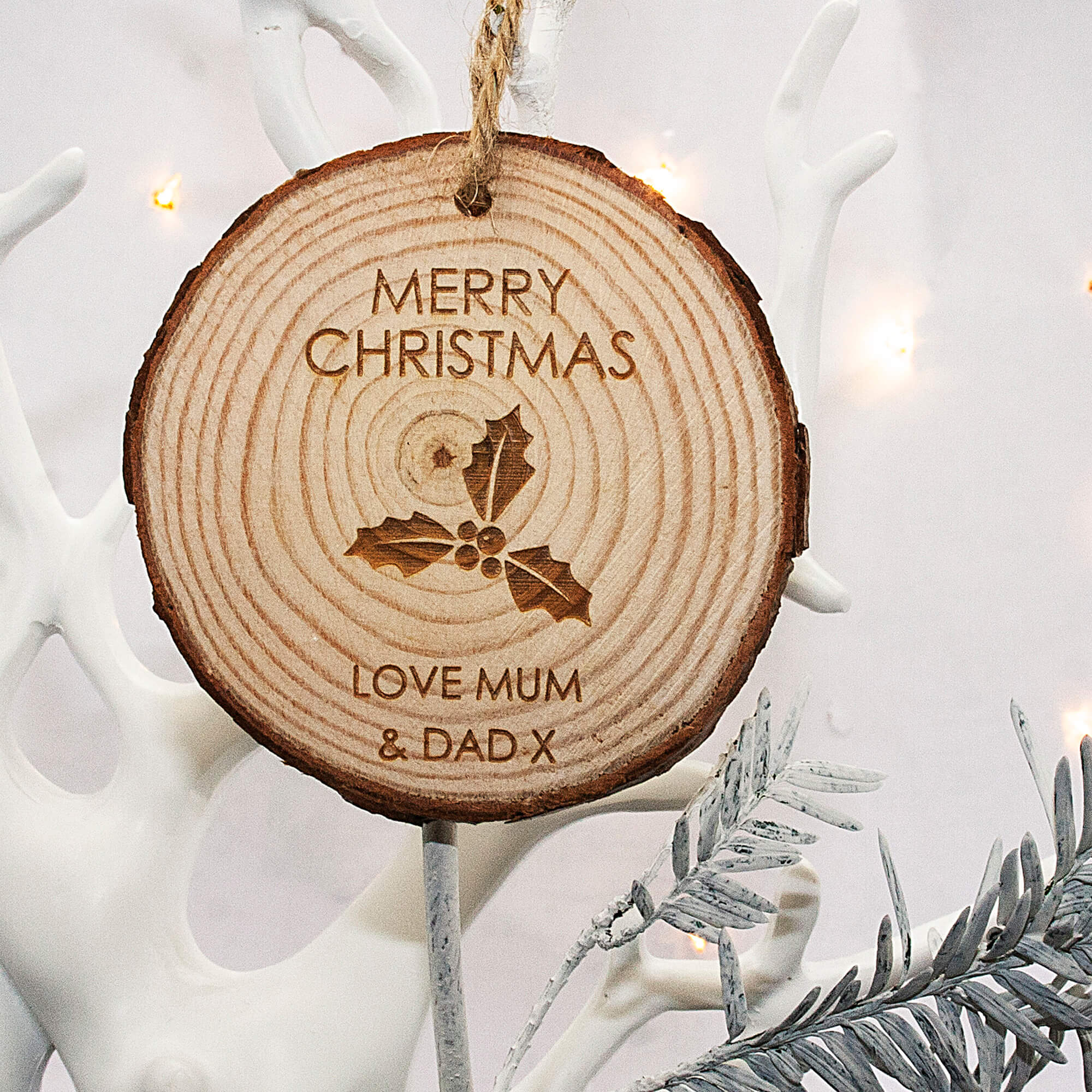 Personalised Christmas Holly Hanging Decoration