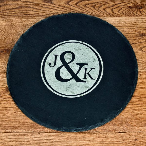 Personalised Slate Cheese Board – Couple (Monogram)