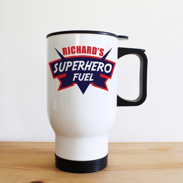 Personalised Dad's Superhero Fuel Travel Mug