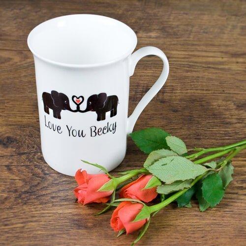 Personalised Elephants In Love Bone China Mug
