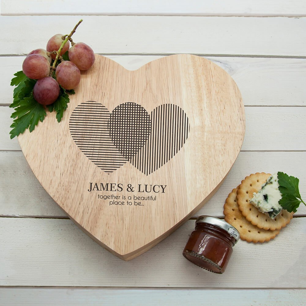 Personalised Cheese Board – Hearts
