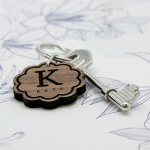 Personalised Wooden Key Ring – Initial & Name (Flower)