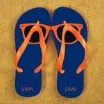 Personalised Adults Flip Flops (Blue & Orange) – Sunglasses