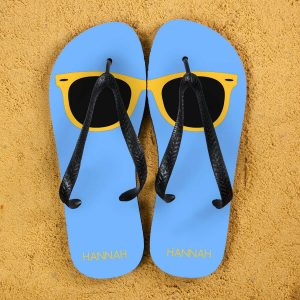 Personalised Adults Flip Flops (Blue & Yellow) – Sunglasses