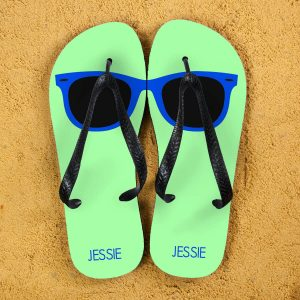 Personalised Adults Flip Flops (Green & Blue) – Sunglasses
