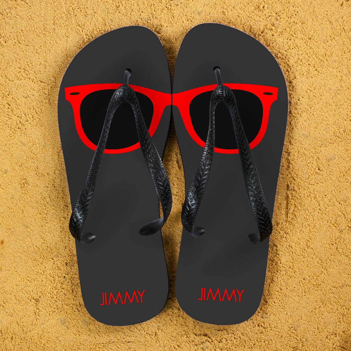 Personalised Adults Flip Flops (Grey & Red) – Sunglasses
