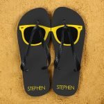 Personalised Adults Flip Flops (Grey & Yellow) – Sunglasses