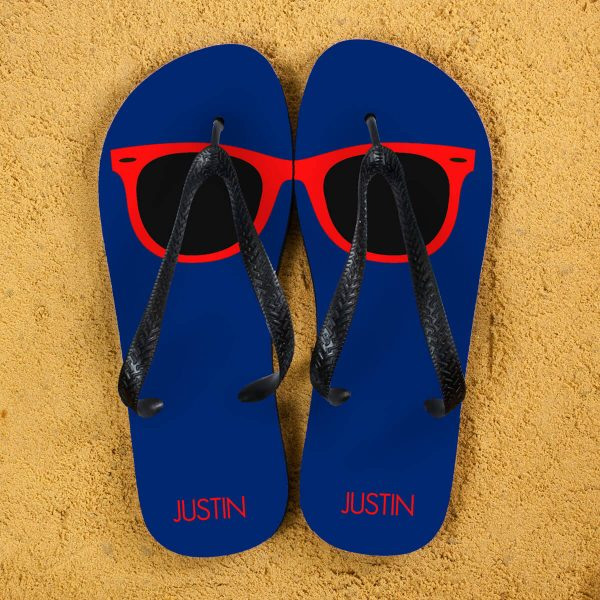 Personalised Adults Flip Flops (Navy & Red) – Sunglasses