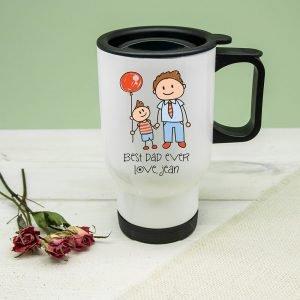 Personalised I Love My Dad Personalised Kid's Artwork Travel Mug