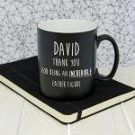 Personalised Incredible Father Figure Black Matte Mug