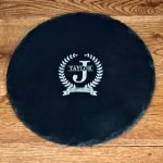 Personalised Slate Cheese Board – Initial & Surname (Circle)