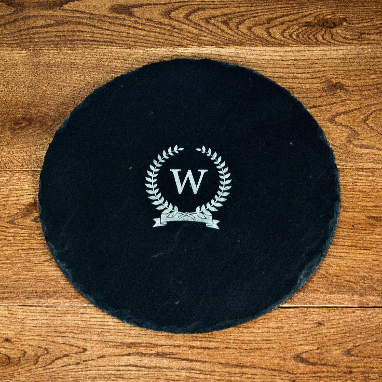 Personalised Slate Cheese Board – Initial (Circle)