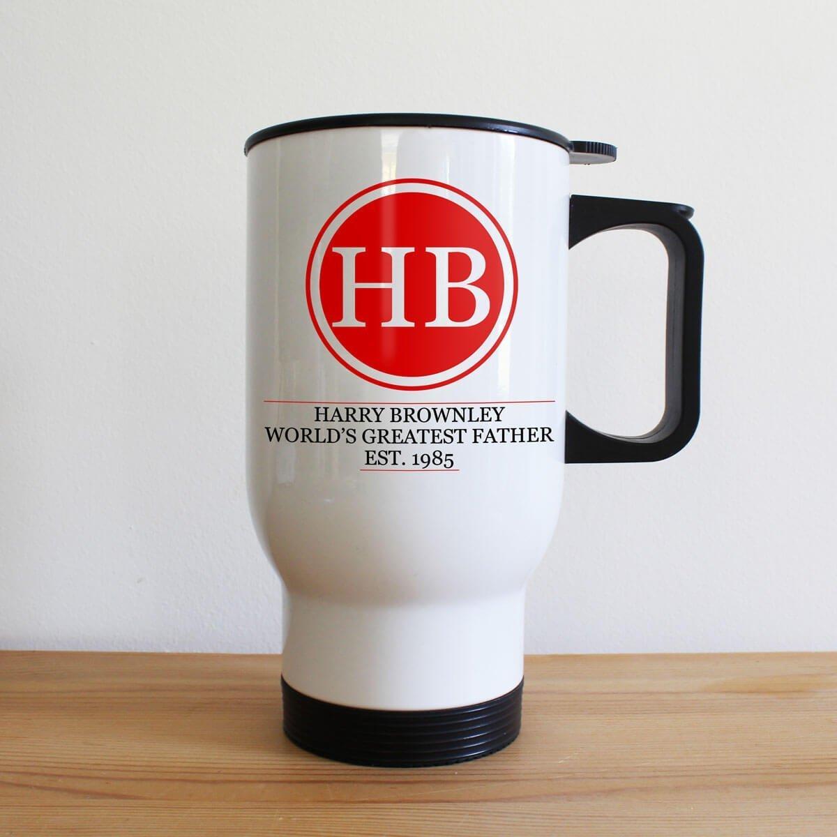 Personalised Initials Monogram White Travel Mug