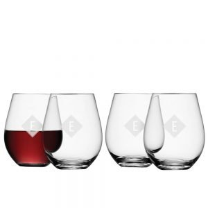 Personalised Wine Glasses – Set of 4 Red  – Initial