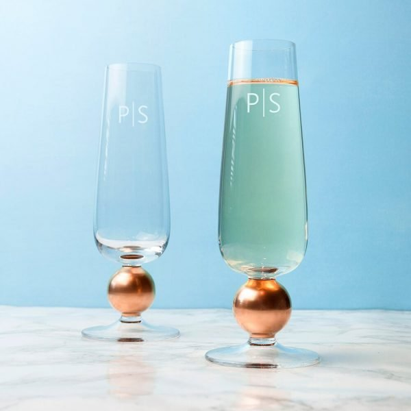 Personalised Gold Champagne Flutes – Set of 2 – Initials