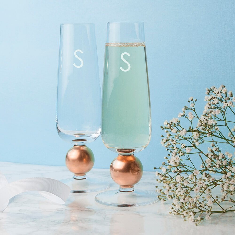 Personalised set of 2 Rose Gold Champagne Glasses – Initial