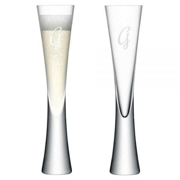 Personalised set of 2 Champagne Flutes – Initial (LSA)