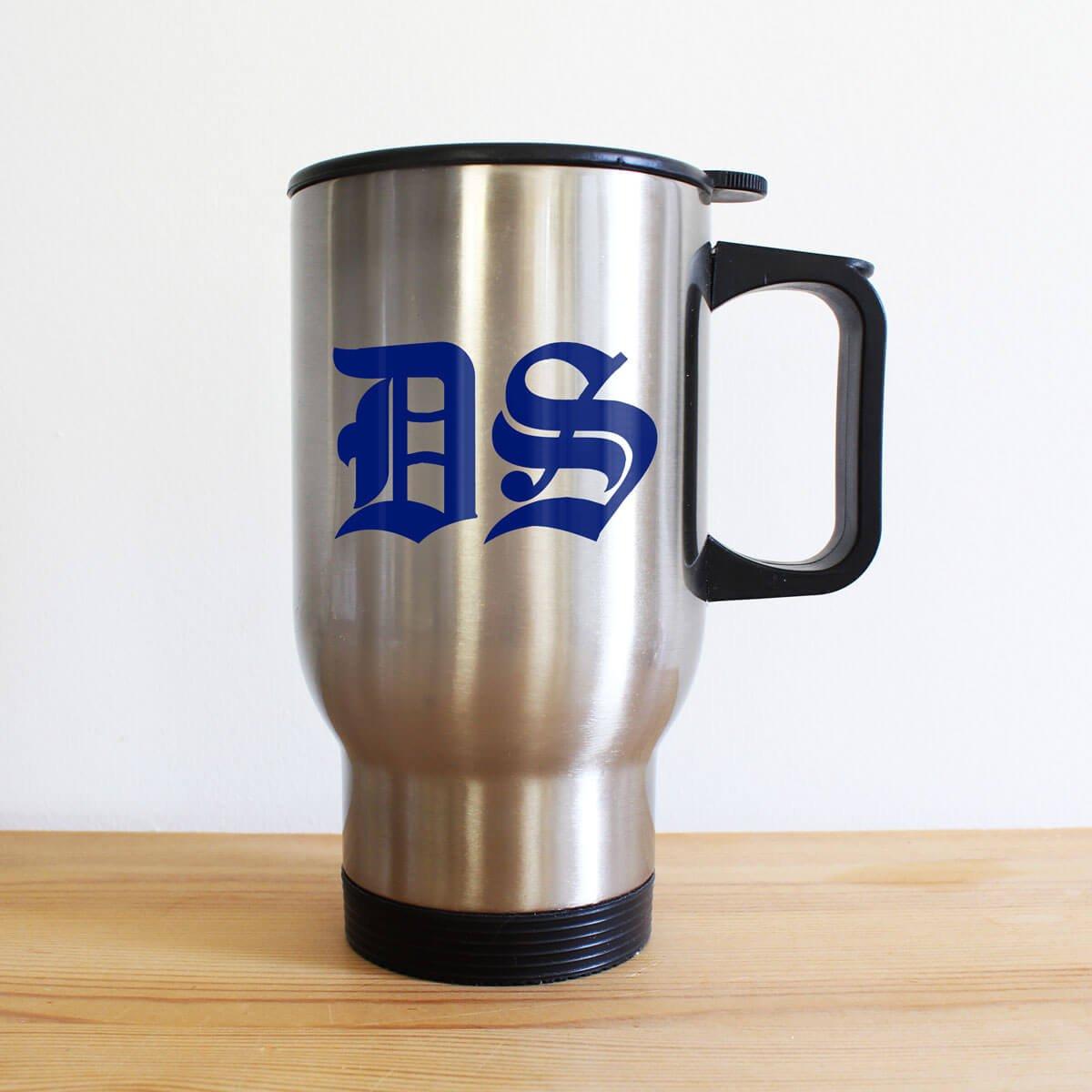Personalised Medieval Initials Silver Travel Mug