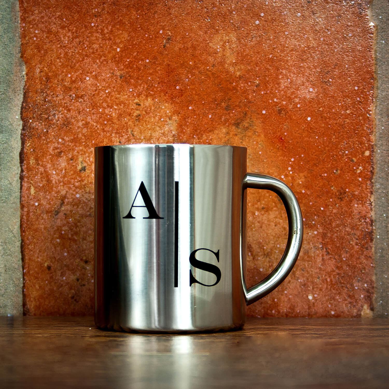 Personalised Monogram Stylised Initial Silver Outdoor Mug