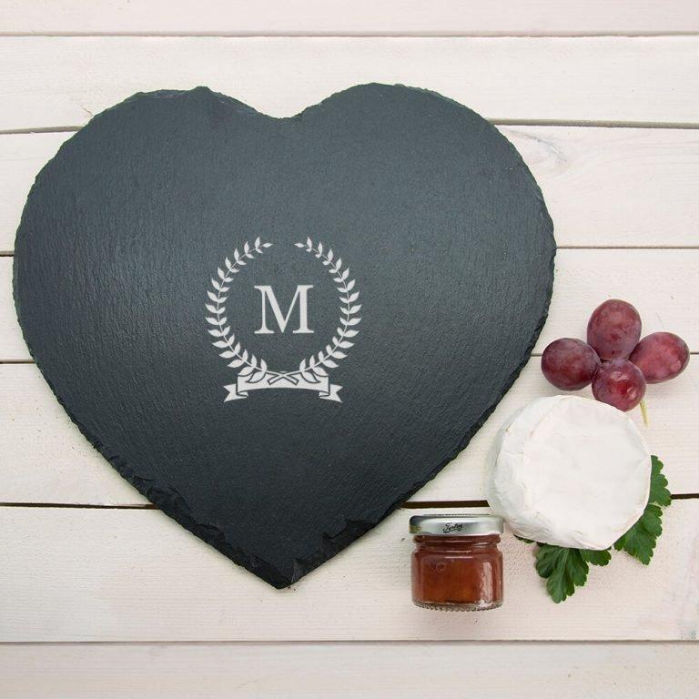Personalised Slate Cheese Board – Initial (Heart)