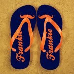 Personalised Adults Flip Flops (Blue & Orange) – Moustache
