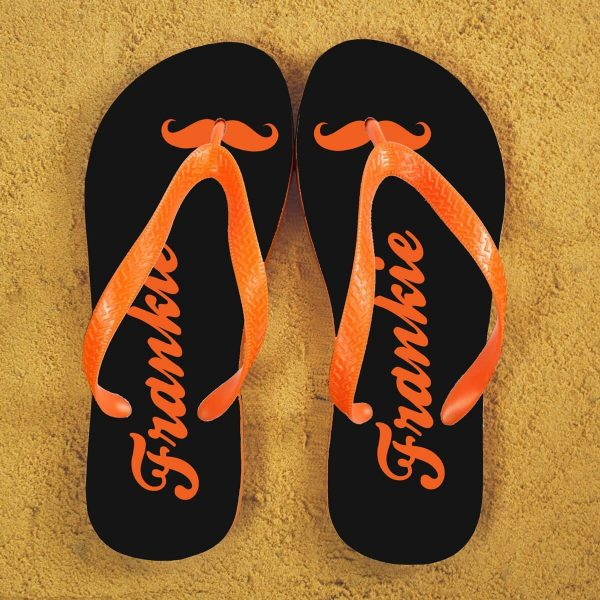 Personalised Adults Flip Flops (Grey & Orange) – Moustache