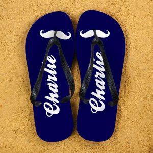 Personalised Adults Flip Flops (Navy & Black) – Moustache