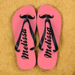 Personalised Adults Flip Flops (Pink & Black) – Moustache