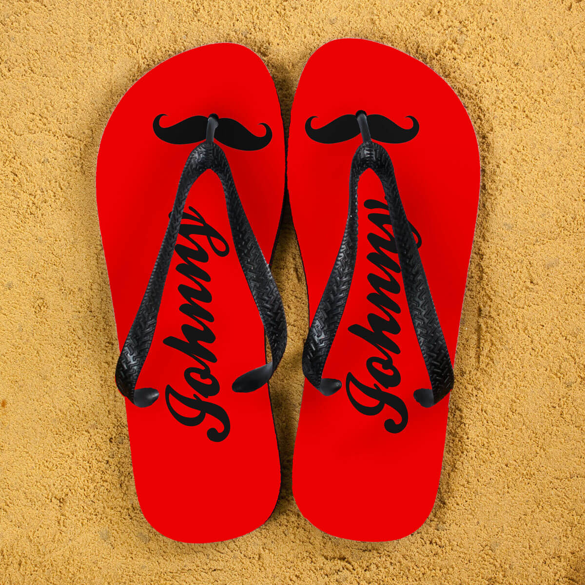 Personalised Adults Flip Flops (Red & Black) – Moustache
