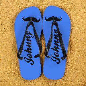 Personalised Adults Flip Flops (Blue & Black) – Moustache