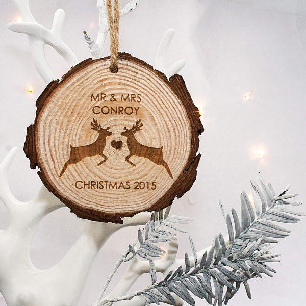 Personalised Mr & Mrs Reindeer Hanging Decoration