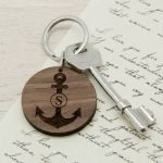 Personalised Wooden Key Ring – Anchor & Initial