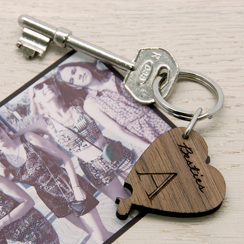 Personalised Wooden Key Ring – Besties (Lucky Clover)