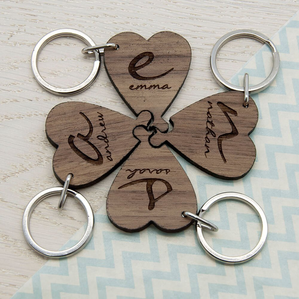 Personalised Wooden Key Ring – Best Friends Forever (Heart)