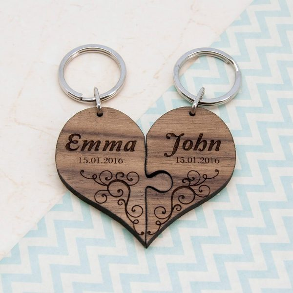 Personalised Wooden Key Ring – Couples