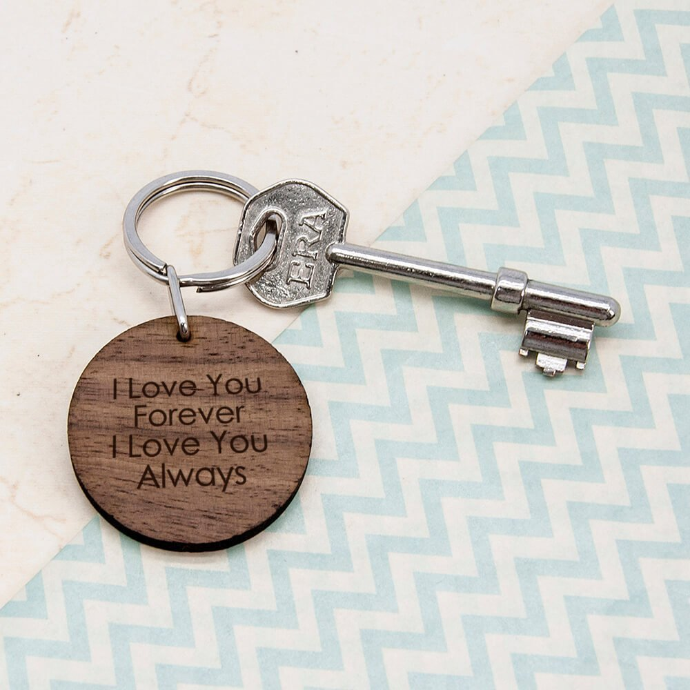 Personalised Wooden Key Ring – Initials (Round)