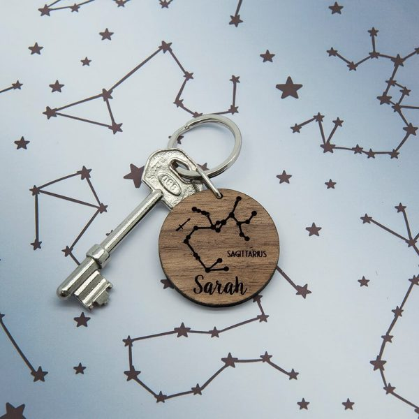 Personalised Wooden Key Ring – Zodiac Sign & Name