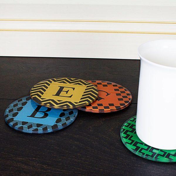 Personalised Art Deco Coasters – Initials (Set of 4)