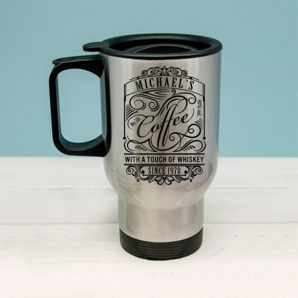 Personalised Coffee With a Touch of Whiskey Travel Mug