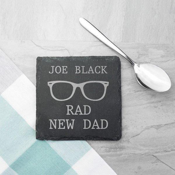 Personalised Slate Coaster – Rad New Dad