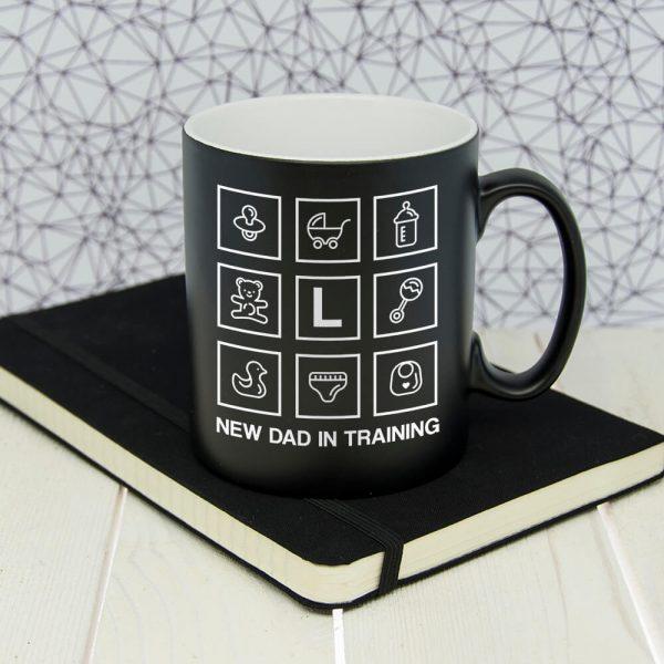 Personalised New Dad In Training Black Matte Mug