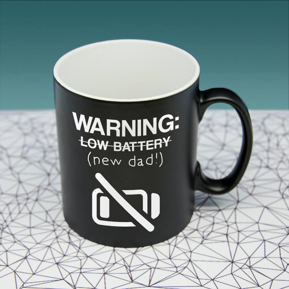 Personalised Warning: New Dad Black Matte Mug