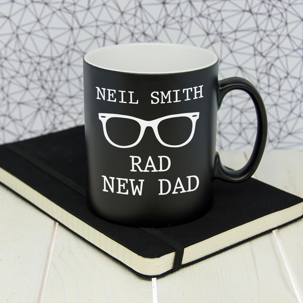 Personalised Rad New Dad Black Matte Mug