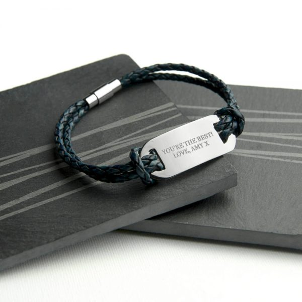 Personalised Mens Leather Statement Bracelet – Your Message