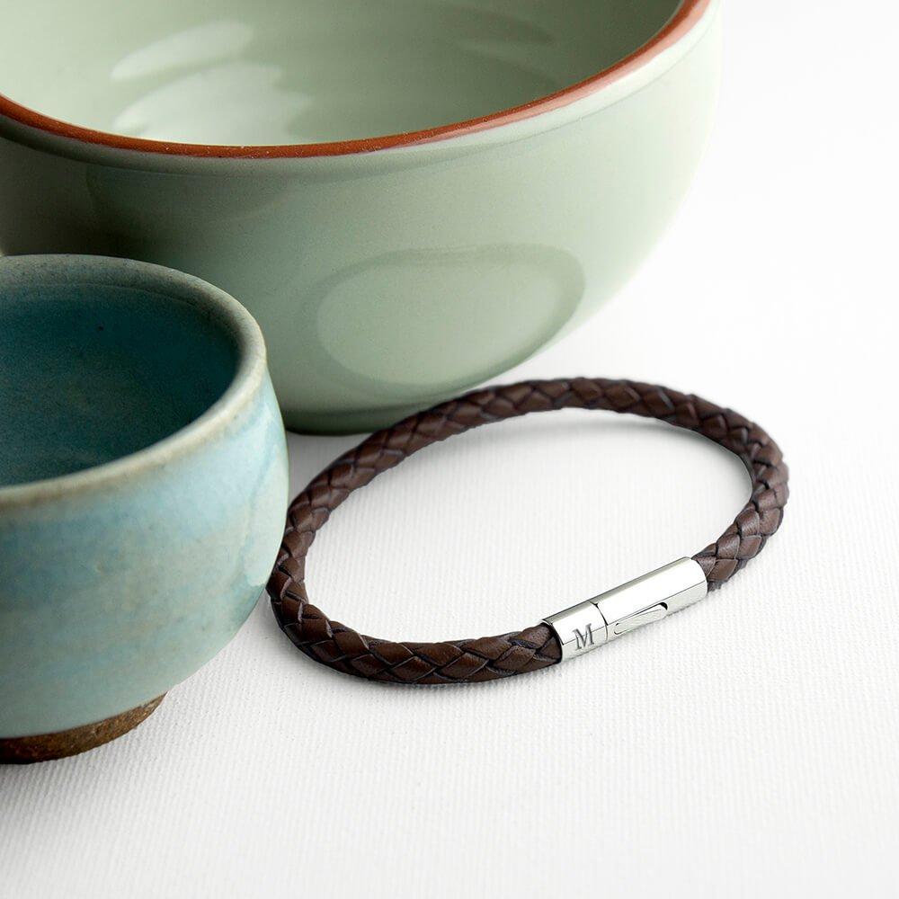 Personalised Mens Leather Capsule Bracelet – Initials