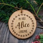 Personalised Engraved Baby's First Christmas Tree Decoration