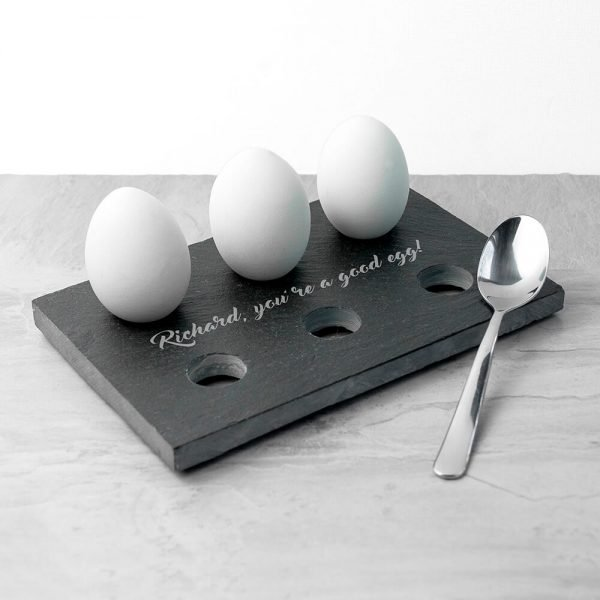 Personalised Slate Egg Holder – Your Message