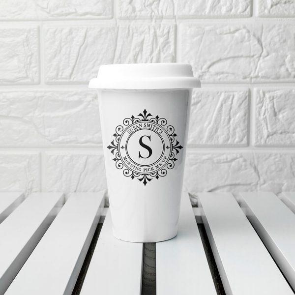 Personalised Monogrammed Ceramic Travel Mug